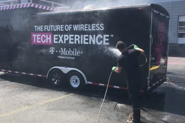 Exterior building wash, parking lot & sidewalks pressure wash - T-Mobile Bellevue
