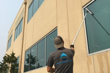 Exterior window cleaning office building in Mukilteo
