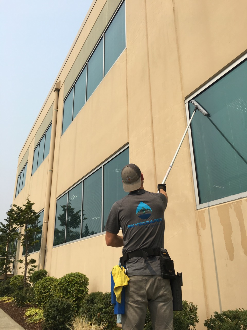 Exterior Window Cleaning Office Building In Mukilteo Skywc